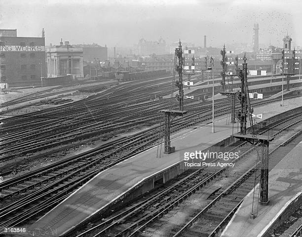Main line signals at Waterloo Railway Station in London during the railway strike