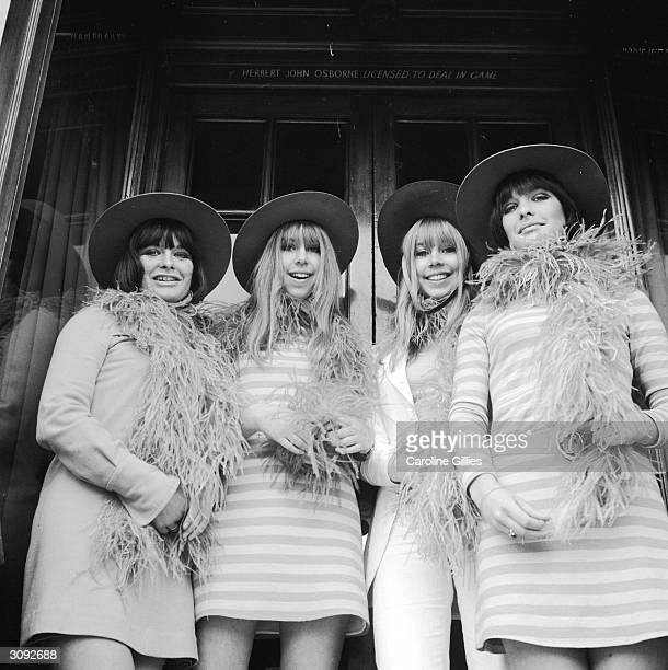 Two sets of identical twins who work as shop assistants at Biba's boutique in Kensington west London Rosy Young Nicole Hellier Michelle Hellier and...