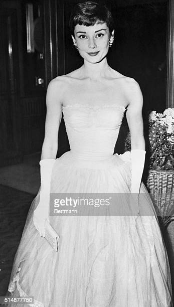 3/10/1955London England Audrey Hepburn arriving at the premiere of 'As Long As They Are Happy' at the Odeon Leicester Square Theatre tonight INP...