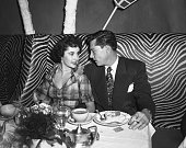 3/13/1950New York NY Actress Elizabeth Taylor with Conrad 'Nicky' Hilton Jr at the El Morroco Night Club