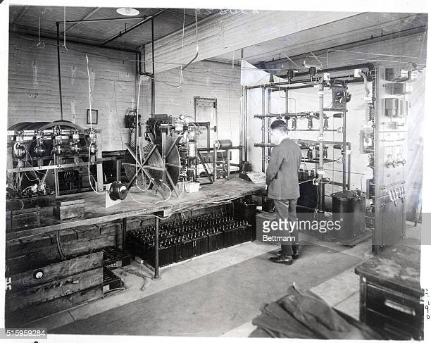 3/14/1922The radio broadcasting room of the General Electric Company at Schenectady NY showing the apparatus which three times every week broadcasts...