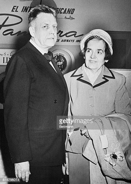 3/15/1954Lima Peru Dr Alfred Kinsey famed sex scientist and author is shown here with his wife arriving at the Lima airport where the doctor is...