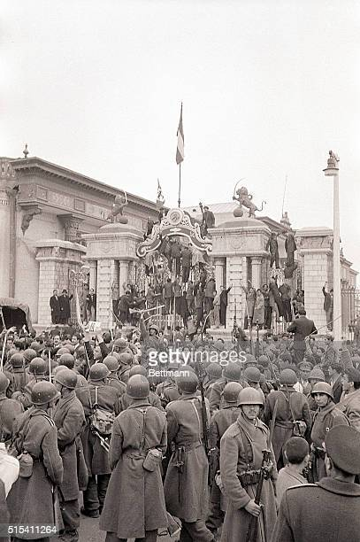 3/1953Tehran Iran This was the scene before the Royal Palace in Tehran last March when Red demonstrators and proMossabegh supporters gathered to...