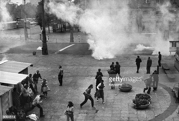 Teargas exploding in the city centre during riots on the second anniversary of the signing of the social accord in Gdansk for the independent...