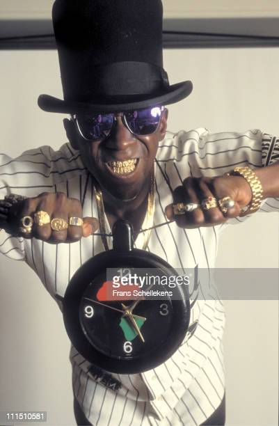 Flavor Flav from Public Enemy poses at Paradiso in Amsterdam Netherlands on 31st August 1992