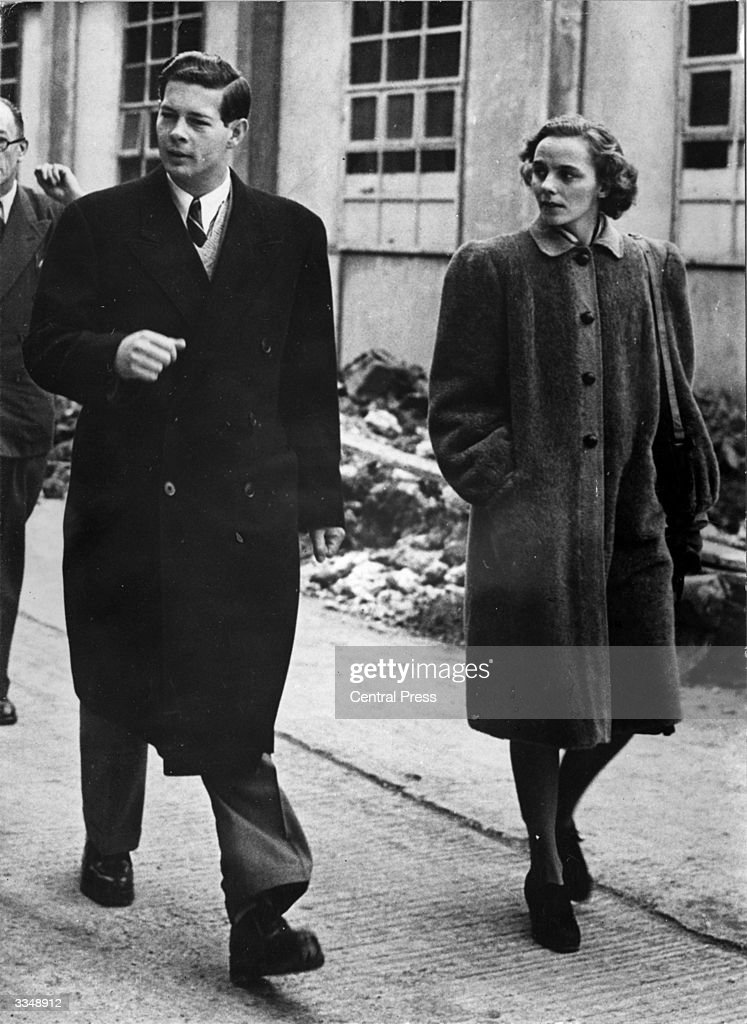 Former King Michael of Romania, in the year he was forced to abdicate the throne, with Princess Anne de Bourbon Parma at Elstree, Middlesex, during their tour of the Metro Goldwyn Mayer studios. The couple are in England for the Royal Wedding.