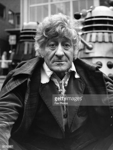Jon Pertwee takes over the role of Dr Who in a new BBC series of the Daleks seen in the BBC TV Centre with the Dalek monsters behind him