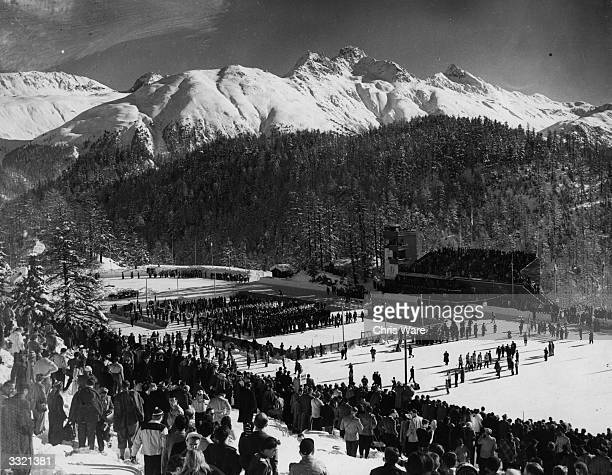 The opening ceremony of the 1948 Winter Olympics at the Ice Stadium in St Moritz Switzerland opened by Swiss president Enrico Celio