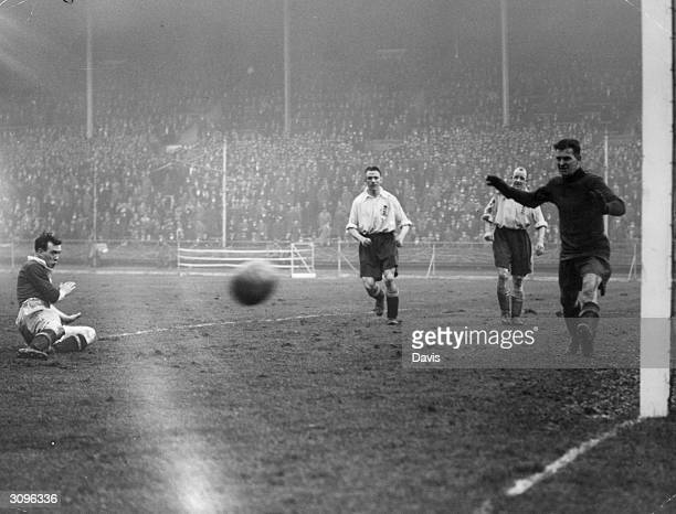 Scottish footballer Gallacher tries for a goal during the International soccer match between England and Scotland The team was captained by Jimmy...