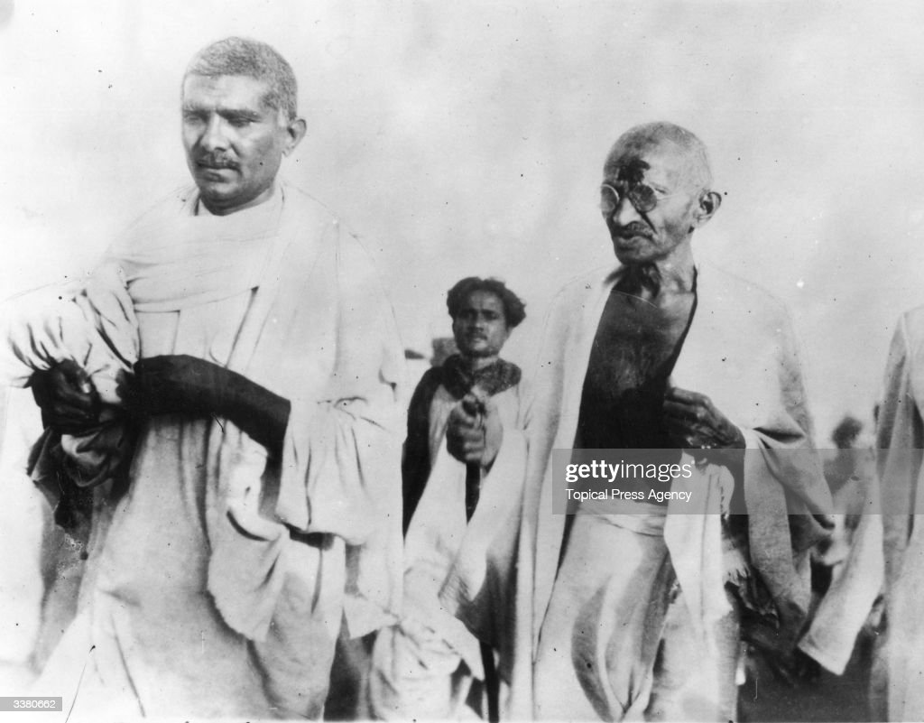 Pacifist and Indian nationalist leader Mahatma Gandhi during the Salt March protesting against the government monopoly on salt production