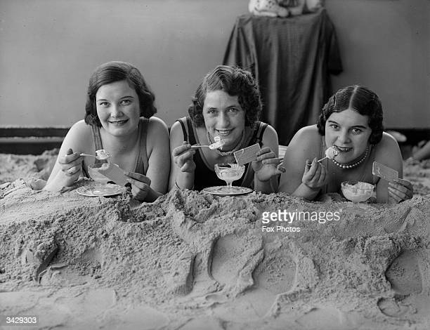 Three ladies enjoying icecream sundaes in the solarium of the Tolland Hotel Bournemouth