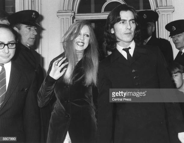 George Harrison of The Beatles with his wife Patti Boyd as they leave Esher and Walton Magistrates Court following a £250 fine for possession of...