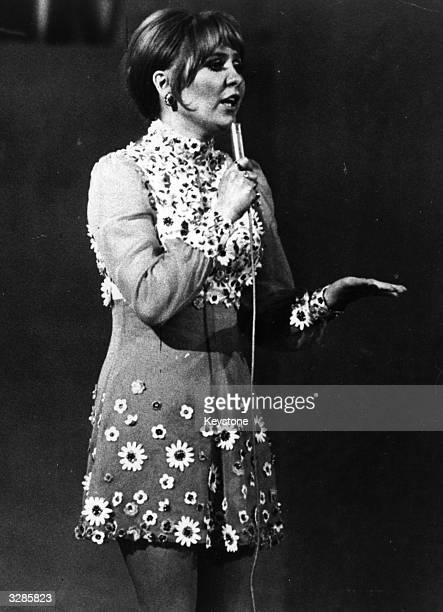 Glasgow born pop singer Lulu performs 'Boom BangABang' the British entry at the 1969 Eurovision Song Contest in Madrid where she shared first place...