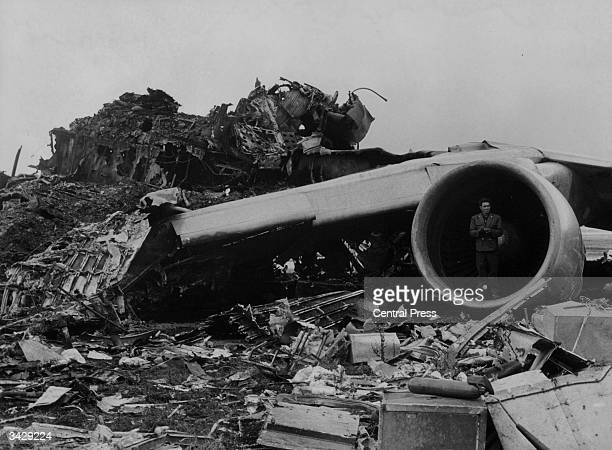 Mass of wreckage on the runway at Santa Cruz airport Tenerife after 747 Jumbo Jets belonging to PanAm and KLM collided 562 people died