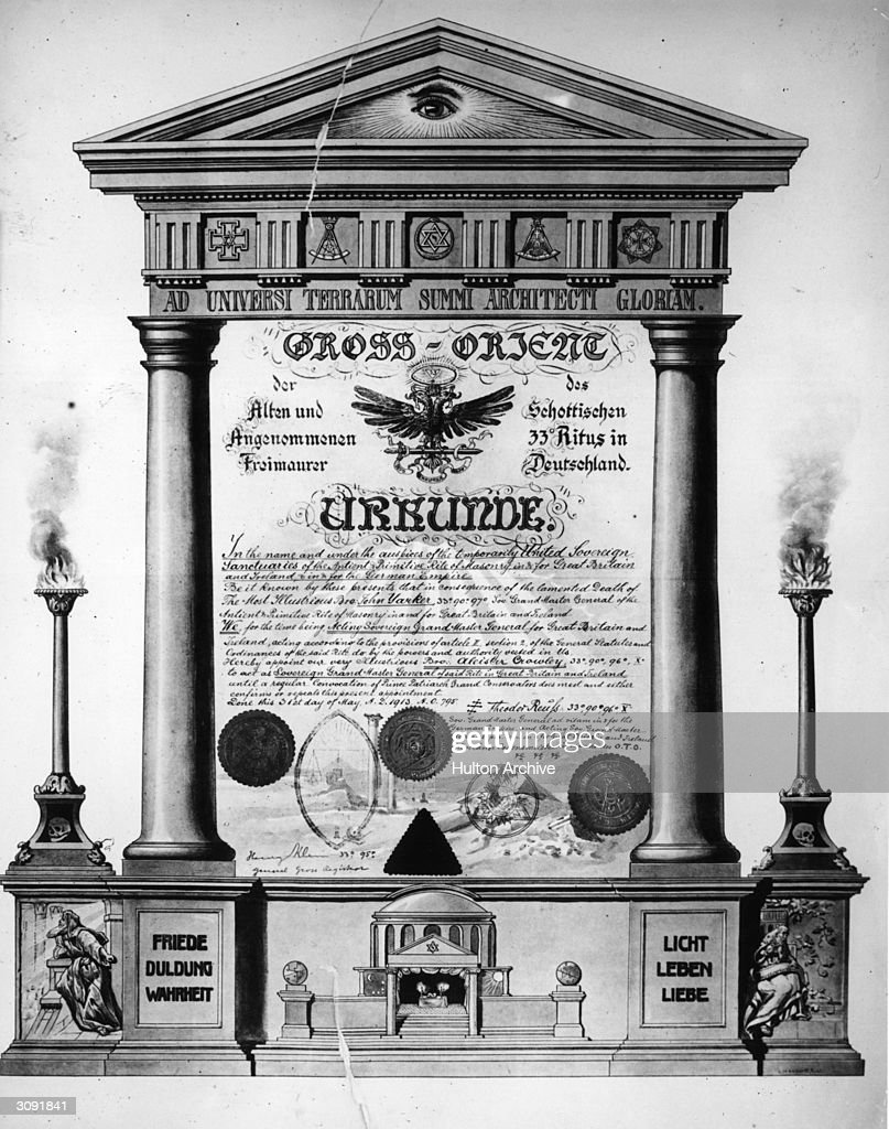 Certificate of the High order of the Freemasons of 33rd rite in Scotland written in German In English the document goes in to state 'In the name and...