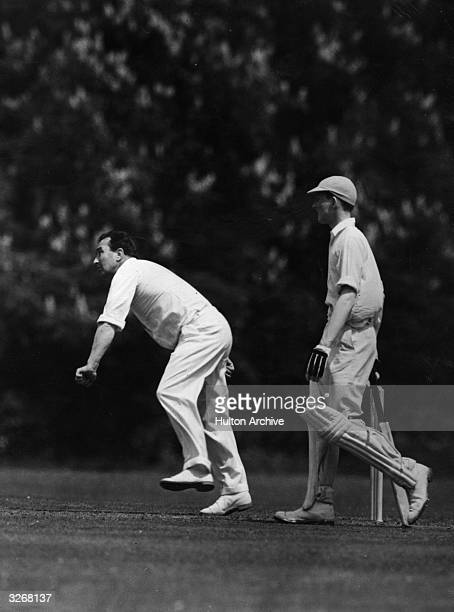 Denis Compton the English and Middlesex cricket player during a match at Eton