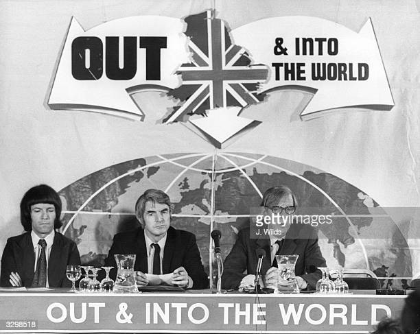 Peter Shore the Labour Trade Secretary at a Press Conference held at the Waldorf Hotel to spell out the policies of the AntiEuropean campaign for a...