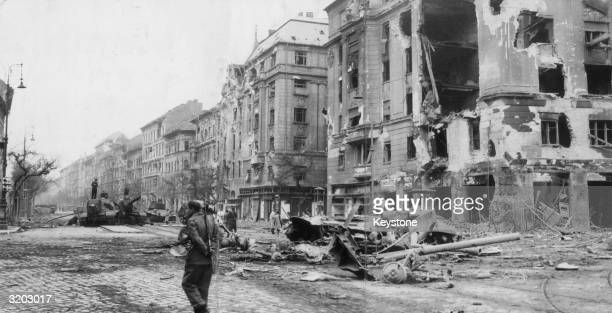 Baross Strasser in the centre of Budapest showing the devastation caused by the anticommunist battle for freedom
