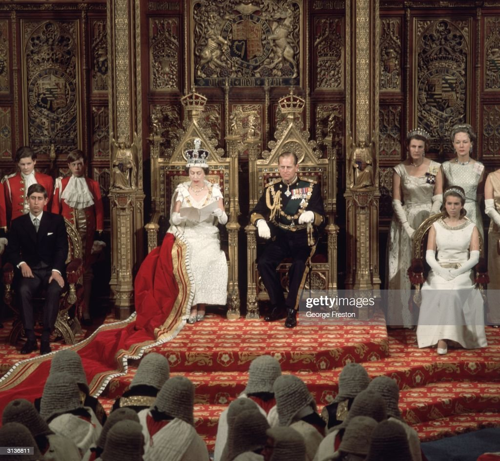 Queen Elizabeth II of Great Britain the Duke of Edinburgh and Prince Charles at the state opening of Parliament