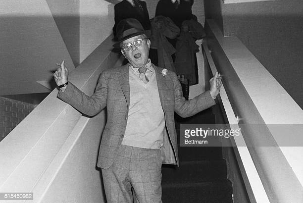 3/21/1978New York NY Author Truman Capote is one of the literary figures at the disco club 'New York New York' for a party celebrating the...