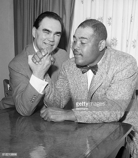 3/2/1961Miami Beach FL Exheavyweight boxing champs Max Schmeling and Joe Louis got together at Miami Beach early 3/2 for a reunion The two are shown...
