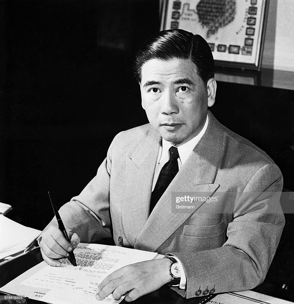 President Ngo Dinh Diem of South Vietnam seated at desk in Independence Palace in Saigon. The 57-year-old bachelor, a dedicated foe of Communism, has vowed to lift the new nation from poverty and free it from U.S. assistance.