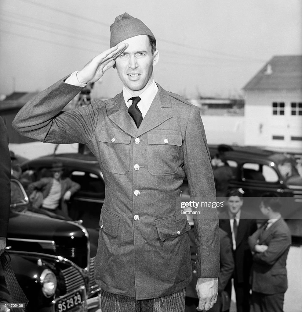 James Stewart's costume for this next production is from a new costume department--the U.S. Army. Yes, Jimmy's passed his physical and he's in the Army now. The Nations number one draftee had to eat himself into a new role. He was under weight when he was first classified.