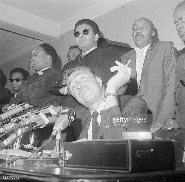 3/24/1968New York NY Former Congressman Adam Clayton Powell confronts the press here March 24 Powell predicted March 24 a 'civil war' in America this...