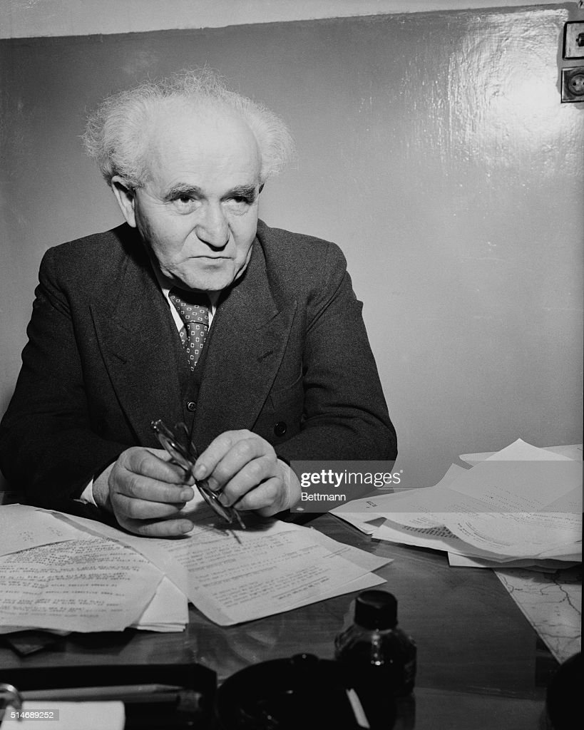 <a gi-track='captionPersonalityLinkClicked' href=/galleries/search?phrase=David+Ben+Gurion&family=editorial&specificpeople=93274 ng-click='$event.stopPropagation()'>David Ben Gurion</a>, Chairman of the Jewish Agency, relaxes for a moment from the work at hand in his office in all-Jewish Tel Aviv. He will probably head the all-Jewish state.
