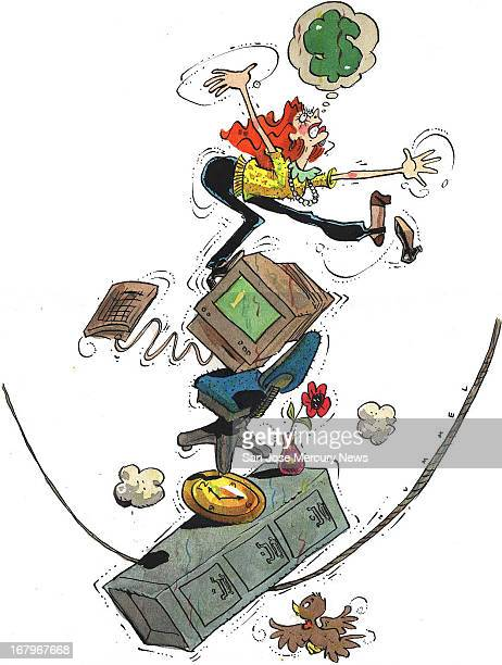 32p x 42p Jim Hummel color illustration of a woman balancing on a slack rope with objects symbolic of the office clock filing cabinet etc and...