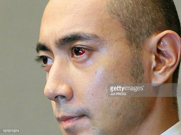 33yearold Kabuki actor Ebizo Ichikawa listens to a question during his press conference in Tokyo on December 7 2010 Ichikawa was released from a...