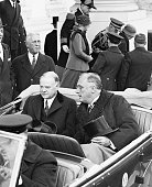 3/4/1933Washington DCPresident Herbert Hoover and Presidentelect Franklin Roosevelt chat in the car as they leave the White House en route to...
