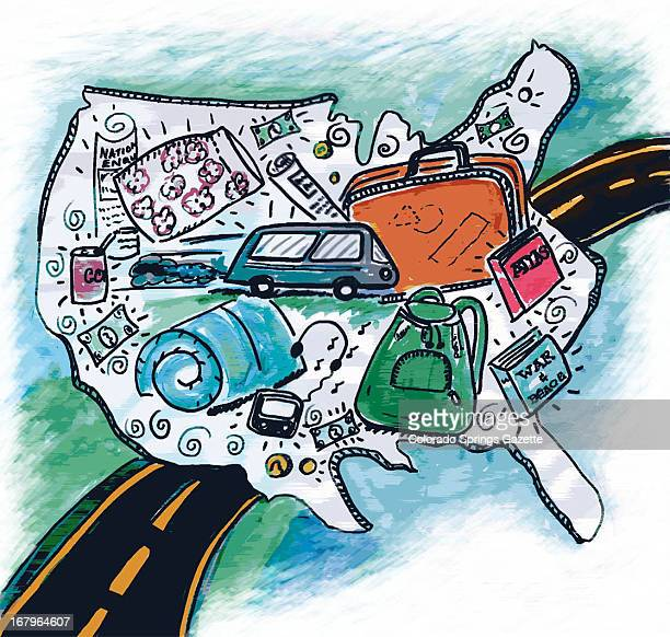 34p x 33p Jennifer Azadmanesh color illustration of a US map covered with travel images a bus a suitcase an atlas etc with a highway in the...