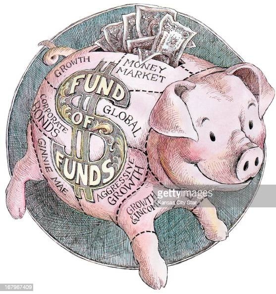 356p x 379p L Eric Craven color illustration of a piggy bank labeled 'Fund of Funds' and divided into various investment funds such as money market...