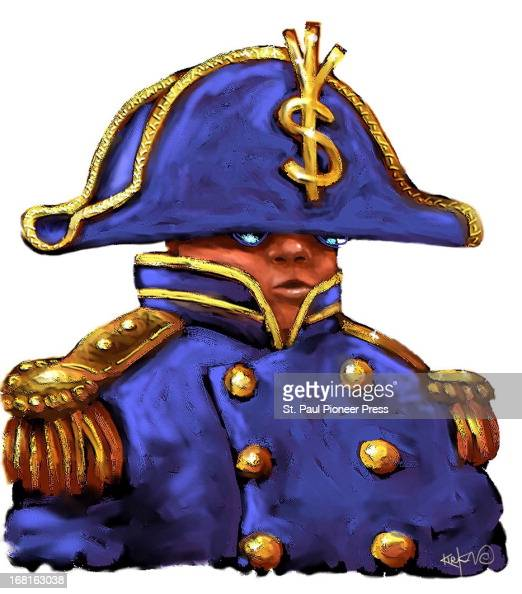 35p x 40p Kirk Lyttle color illustration of boyish investor in Napoleon outfit with dollar sign on the hat