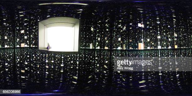 A 360degree internal view of the art piece Infinity Mirrored Room Love Forever by Japanese artist Yayoi Kusama is seen at the Hirshhorn Museum March...