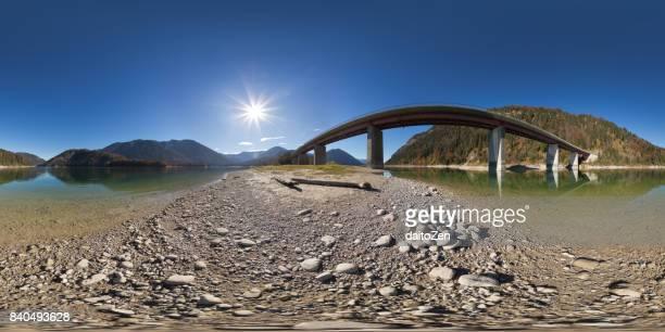 360-degree spherical panorama of bridge crossing Sylvenstein Reservoir, Sylvenstein Dam, Bavaria, Germany