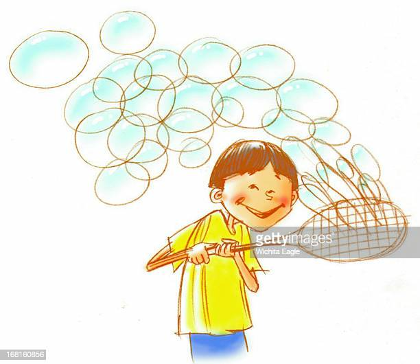 36p x 31p Tim Ladwig color illustration of boy making bubbles with large wand