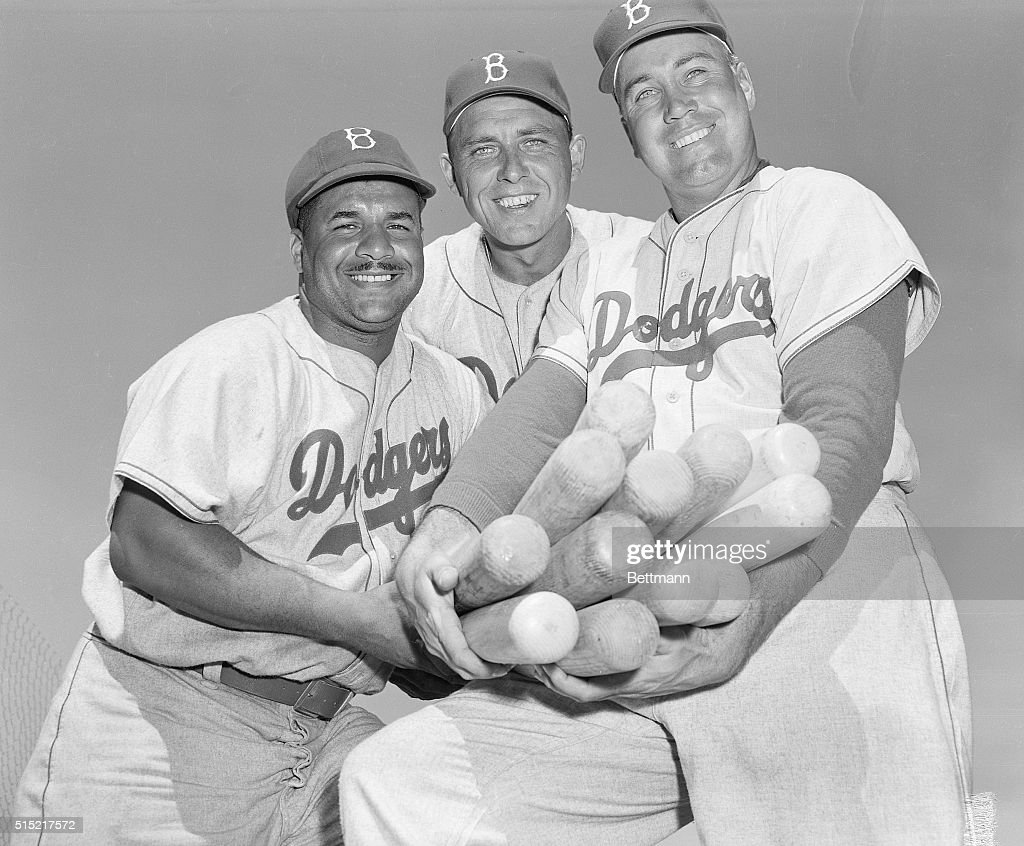 Vero Beach, FL-Big timber boys of the Brooklyn Dodgers oblige with a smiling closeup at the Dodgers' spring camp at Vero Beach. They are (L-R): <a gi-track='captionPersonalityLinkClicked' href=/galleries/search?phrase=Roy+Campanella&family=editorial&specificpeople=94022 ng-click='$event.stopPropagation()'>Roy Campanella</a>, <a gi-track='captionPersonalityLinkClicked' href=/galleries/search?phrase=Gil+Hodges&family=editorial&specificpeople=93462 ng-click='$event.stopPropagation()'>Gil Hodges</a>, and <a gi-track='captionPersonalityLinkClicked' href=/galleries/search?phrase=Duke+Snider&family=editorial&specificpeople=93319 ng-click='$event.stopPropagation()'>Duke Snider</a>.