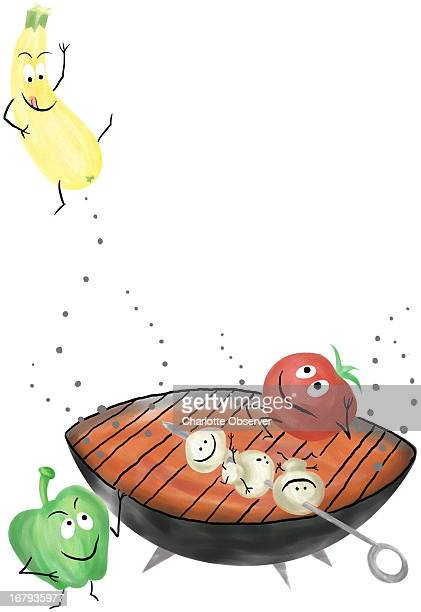 37p x 53p Brenda Pinnell color illustration of happy vegetables cooking on an outdoor grill