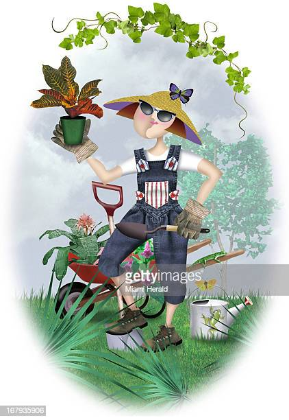 37p x 54p Ana Lense Laurrauri color illustration of lady gardener in overalls hat sunglasses and gloves with shovel in one hand and potted plant in...
