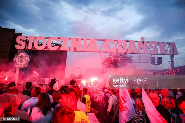 37th anniversary of the Gdansk Agreement in front of Gdansk Shipyard gateway in Gdansk Poland on 31 August 2017 The Gdansk Agreement was an accord...