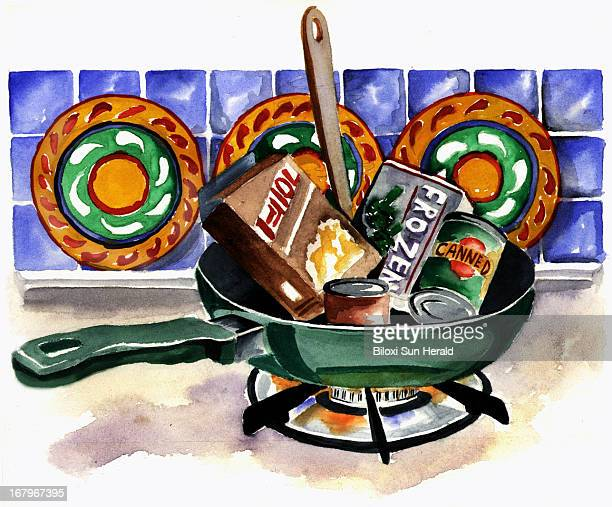 38p x 32p Gail Woynar color illustration of frozen canned foods in a skillet on a stove can be used with stories about cooking quickly at home Sun...