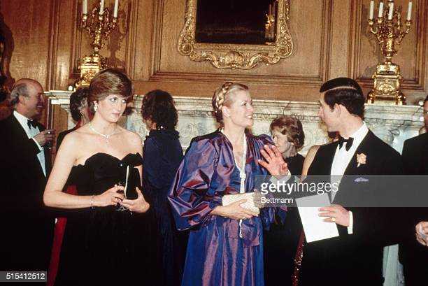 3/9/1981London England Lady Diana Spencer Prince Charles of Britain and Princess Grace of Monaco at the Goldsmith Hall for the Opera Frame shows...