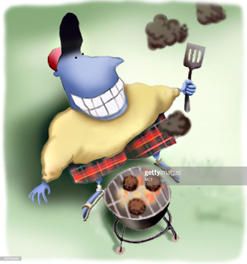 39p x 42p Lee Hulteng color illustration of man with plaid shorts cooking outdoors. For use with stories on Father's Day.