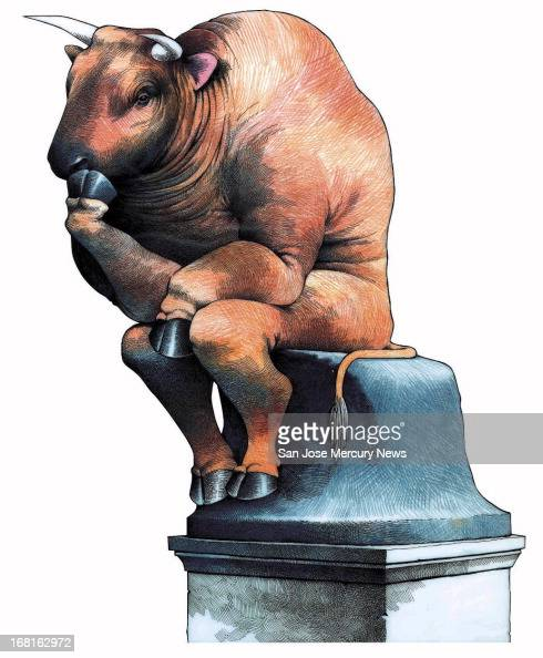 39p x 47p Doug Griswold color illustration of Wall Street bull in pose of Rodin's The Thinker