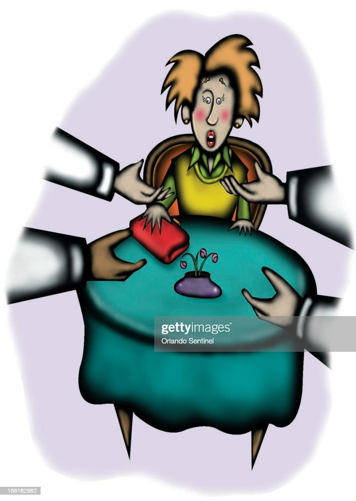 39p x 55p Anita J. Jones color illustration of hands reaching out for tips from woman sitting at restaurant table.