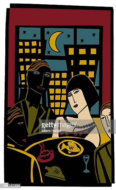 39p x 64p color illustration of couple dining with urban skyline in background
