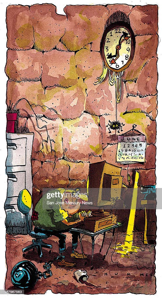39p x 71p Jim Hummel color illustration of worker held in his current job by ball and chain. Can be used with stories about changing jobs.