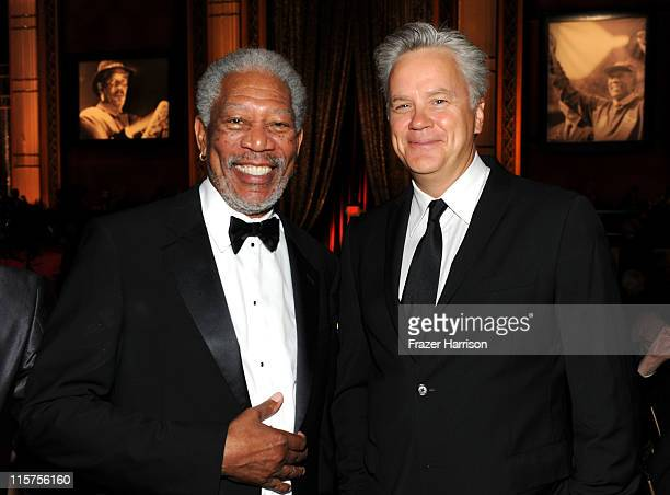 39th Life Achievement Award recipient Morgan Freeman and Actor Tim Robbins in the audience at the 39th AFI Life Achievement Award honoring Morgan...